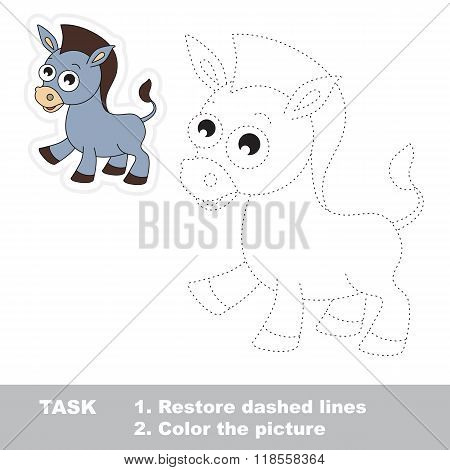 Funny donkey to be traced. Vector trace game.