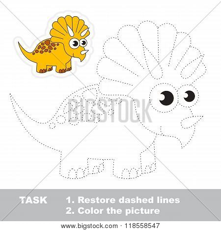 Triceratops to be traced. Vector trace game.