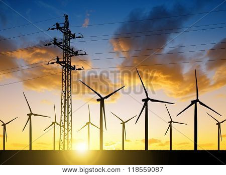 High voltage tower and wind turbines