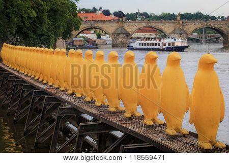 PRAGUE - MAY, 15, 2015: yellow pinguins in Prague, modern art, Czech Republic, Europe