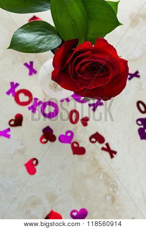 Xoxo Hugs And Kisses With A Red Rose