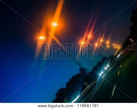 Night road lights