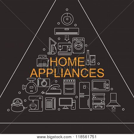 Vector illustration of different home appliances. Banner for your company or store.