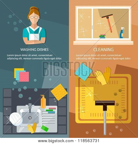 Cleaning Service Banners Washing Windows Home Cleaning Washing Dishes Vector Illustration