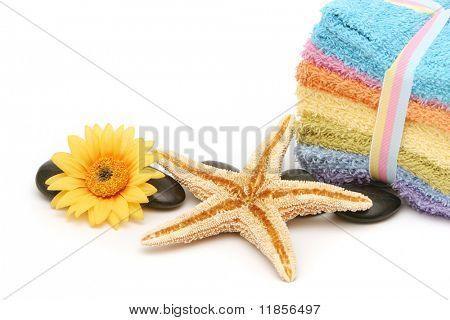 Bunte Spa oder Bad Handtücher und Seestern