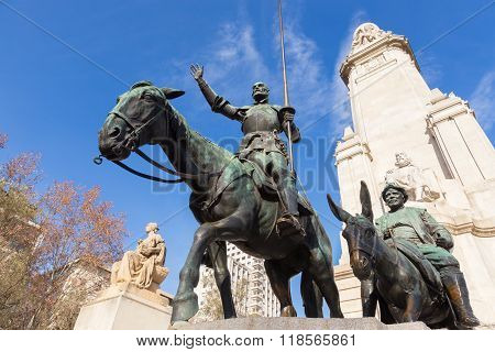 Don Quixote statue on Square of Spain in Madrid.