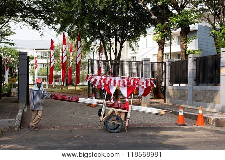 Street Vendor Sell Indonesian Flags