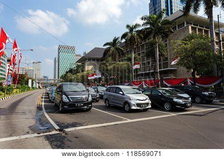 Traffic On Main Street In Central Jakarta