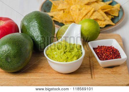 Ingredients For Guacamole And Guacamole Dip