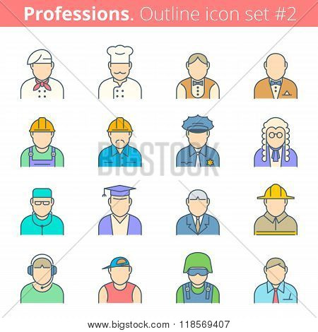 People Professions And Occupations Color Outline Icon Set 1