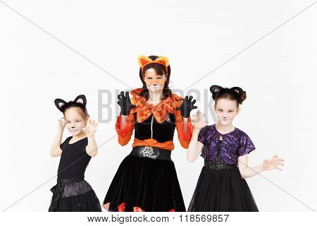 Young Woman And Two Girls In Cat Carnival Costumes Posing