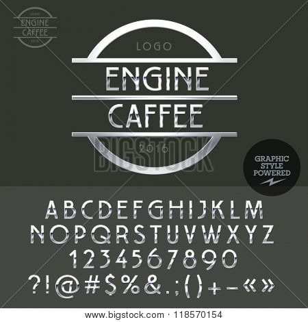 Power chrome logo for motorbike bar. Vector set of letters, numbers and symbols.