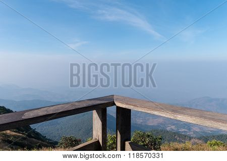 Wood Balcony With Mountain Landscape View At Viewpoint Of Kio Mae Pan, Chiang Mai, Thailand. Copy Sp