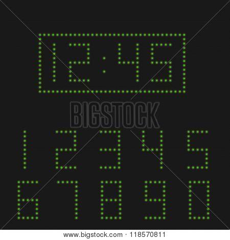 Green digital numbers