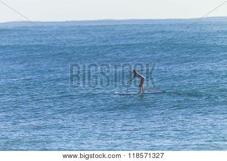 Girl Paddler Board Ocean