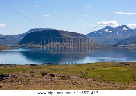 Beautiful Mountains By Hvalfjordur Fiord. Iceland.