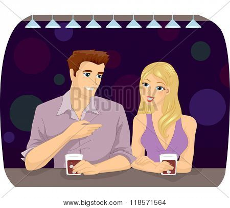 Illustration of a Man and a Woman Chatting While Having a Drink