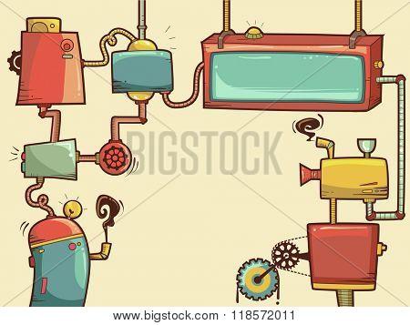 Cartoonish Illustration of Steampunk Themed Frames