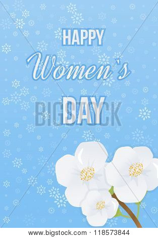 Spring white flowers. International Happy Women's Day concept