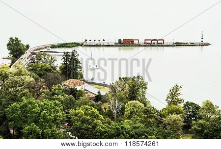 Quayside In Tihany On The Balaton Lake, Travel Destination