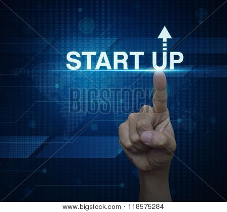 Hand Click On Start Up Icon Over Digital World Map Technology Style, Start Up Business Concept, Elem
