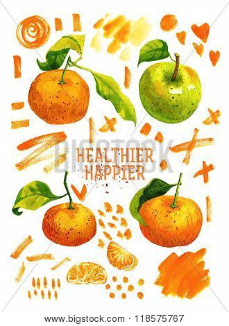 Watercolor poster with tangerines, green apple