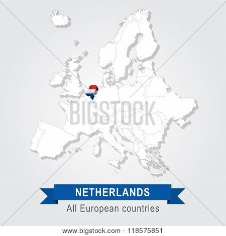 Netherlands. Europe administrative map.