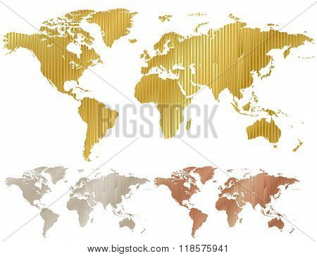 Vector Map Of The World Made Of Corrugated Metal Copper Gold Silver