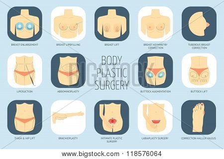 Plastic Surgery Body Icons. Flat Design. Vector