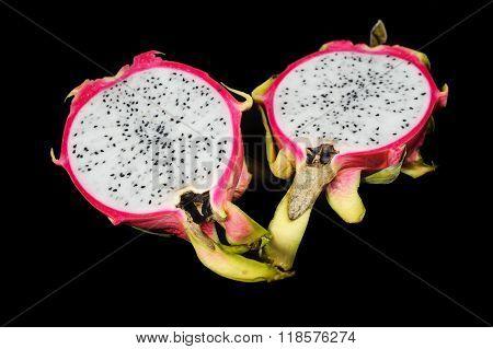 Sliced Pitahaya Or Dragon Fruit On Black Background.
