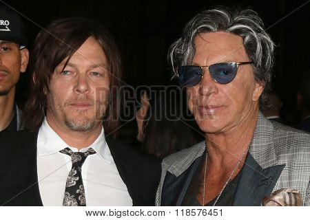 LOS ANGELES - FEB 16:  Norman Reedus, Mickey Rourke at the Triple 9 Premiere at the Regal 14 Theaters on February 16, 2016 in Los Angeles, CA