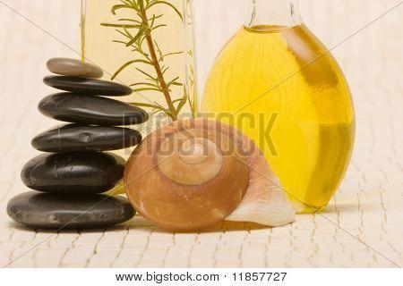 Essential oils and massage stones