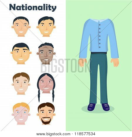 Set of people of different nationalities