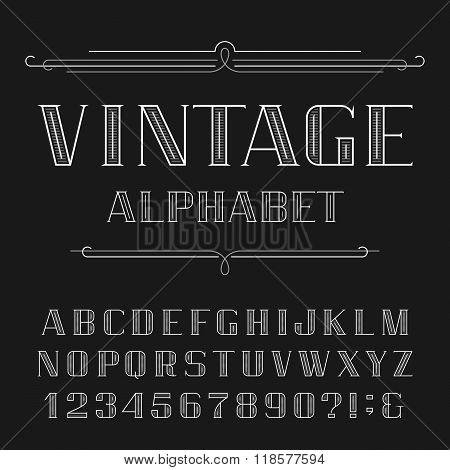 Vintage Alphabet Vector Font.