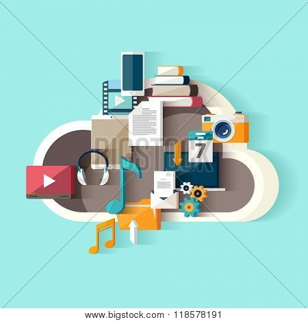 Cloud data storage. Flat design