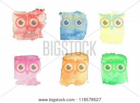Watercolor set owls