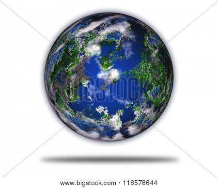 Blue Planet Earth with some clouds isolated in white