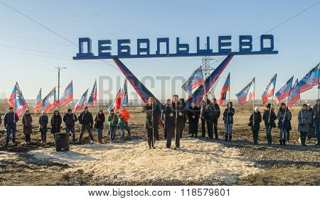 The Representatives Of The Lugansk And Debaltseve At The Opening Ceremony Of The Stele