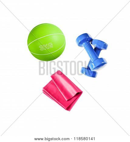Sport accessories for fitness isolated