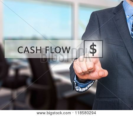 Businessman Pressing Cash Flow Button On Virtual Screens