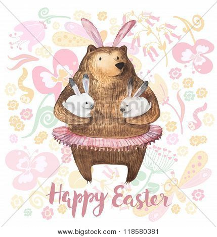 Cute bear holding two little bunnies. Hand Drawn Watercolor illustration. Happy Easter Card