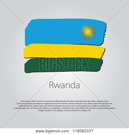 Rwanda Flag With Colored Hand Drawn Lines In Vector Format