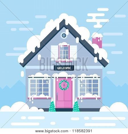 Winter Day House And Landscapes. Stock Flat Vector Illustration