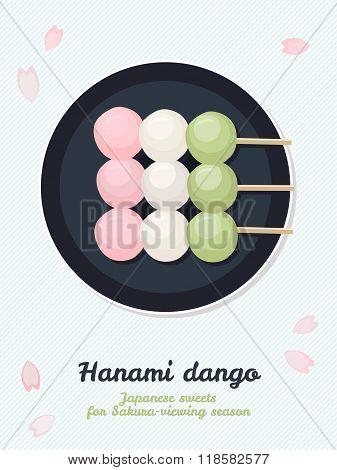 Hanami Dango. Japanese Sweets For Sakura Season.