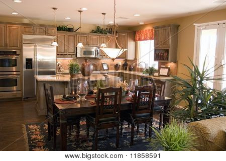 Modern luxury kitchen and dinner table