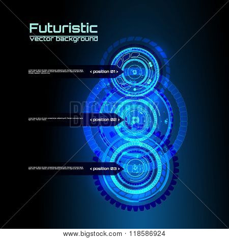 Futuristic interface infographics, HUD,  vector background