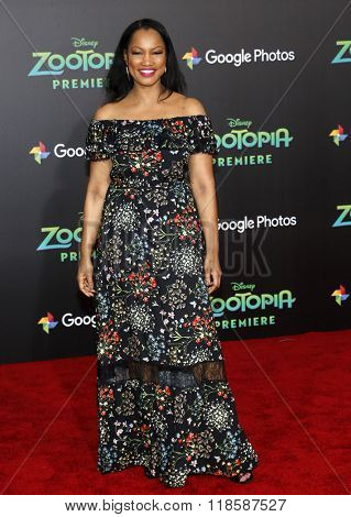 Garcelle Beauvais at the Los Angeles premiere of 'Zootopia' held at the El Capitan Theater in Hollywood, USA on Febraury 17, 2016.