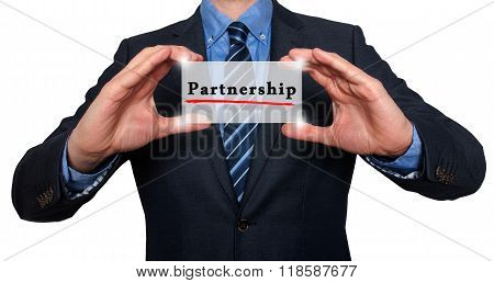 Business Man Holding Partnership Card