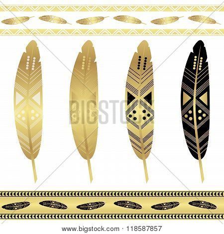 Set Of Gold Tribal Feathers. Flash Tattoo Ethnic Seamless Patterns.