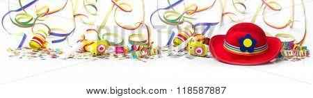 Carnival Hat, Confetti, Decorations